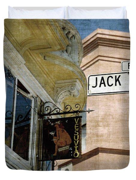Jack Kerouac Alley And Vesuvio Pub Duvet Cover by RicardMN Photography