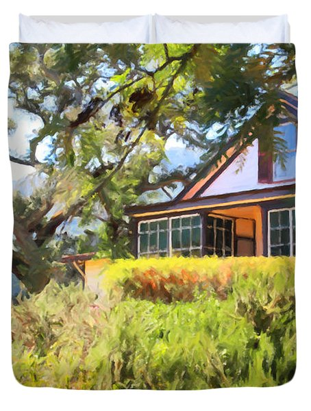 Jack London Countryside Cottage And Garden 5D24570 Duvet Cover by Wingsdomain Art and Photography