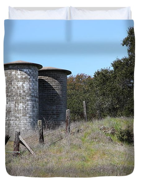 Jack London Ranch Silos 5d22146 Duvet Cover by Wingsdomain Art and Photography
