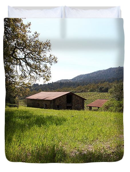 Jack London Stallion Barn 5D22056 Duvet Cover by Wingsdomain Art and Photography