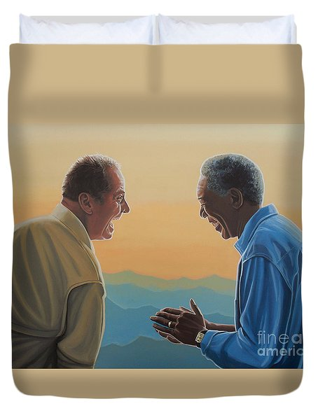 Jack Nicholson And Morgan Freeman Duvet Cover by Paul Meijering