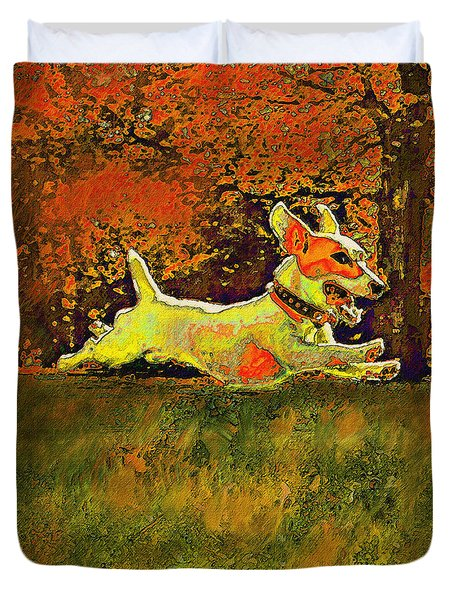 jack russell in autumn Duvet Cover by Jane Schnetlage