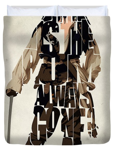 Jack Sparrow Inspired Pirates Of The Caribbean Typographic Poster Duvet Cover by Ayse Deniz