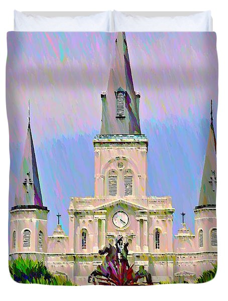 Jackson Square In The French Quarter Duvet Cover by Bill Cannon