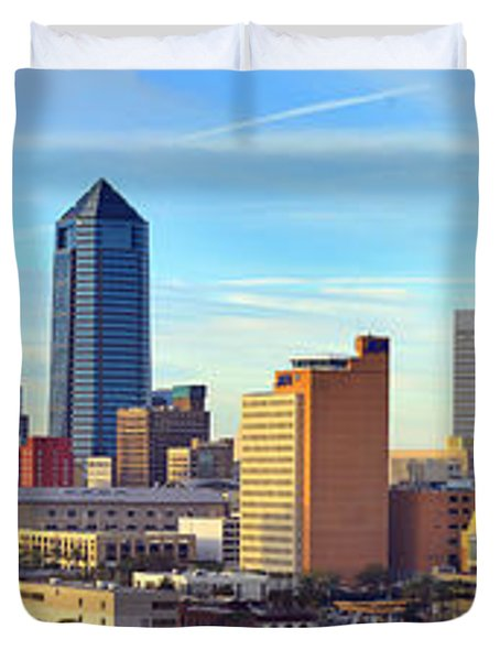 Jacksonville Skyline Morning Day Color Panorama Florida Duvet Cover by Jon Holiday