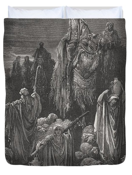 Jacob Goeth Into Egypt Duvet Cover by Gustave Dore