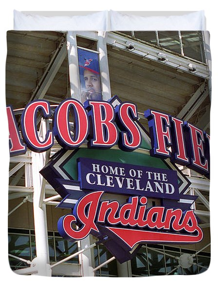 Jacobs Field - Cleveland Indians Duvet Cover by Frank Romeo