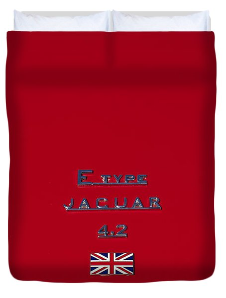 Jaguar E-type 4.2 Emblem 3 Duvet Cover by Jill Reger