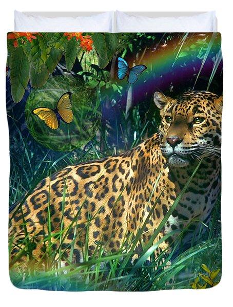 Jaguar Meadow  Variant 1 Duvet Cover by Alixandra Mullins