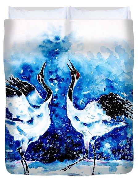 Japanese Cranes Duvet Cover by Zaira Dzhaubaeva
