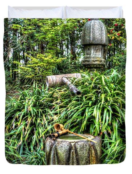 Japanese Garden Fountain Duvet Cover by Heidi Smith