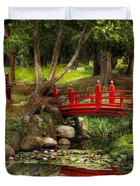 Japanese Garden - Meditation Duvet Cover by Mike Savad
