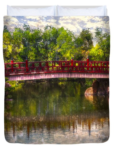 Japanese Gardens Bridge Duvet Cover by Debra and Dave Vanderlaan