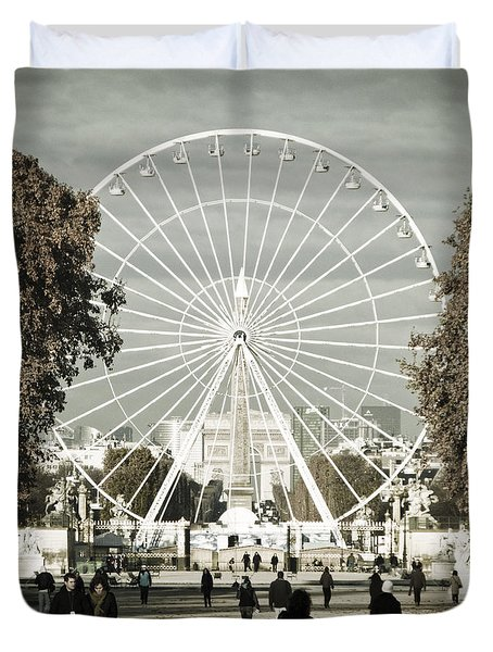 Jardin Des Tuileries Park Paris France Europe  Duvet Cover by Jon Boyes