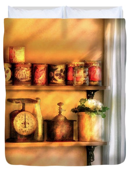 Jars - Kitchen Shelves Duvet Cover by Mike Savad