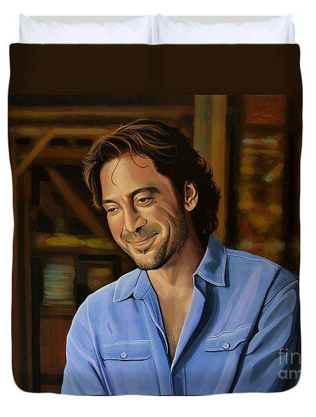 Javier Bardem Painting Duvet Cover by Paul Meijering