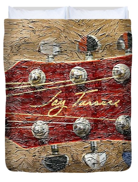 Jay Turser Guitar Head - Red Guitar - Digital Painting Duvet Cover by Barbara Griffin