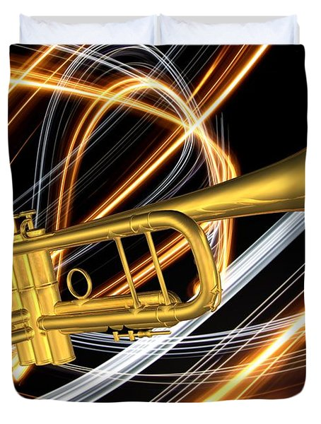 Jazz Art Trumpet Duvet Cover by Louis Ferreira