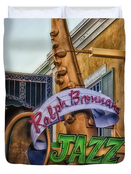 Jazz Kitchen Signage Downtown Disneyland Duvet Cover by Thomas Woolworth