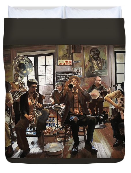 Jazz Orchestra Duvet Cover by Guido Borelli