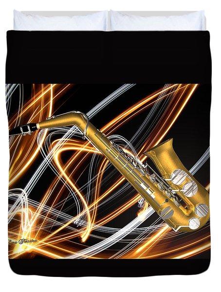 Jazz Saxaphone  Duvet Cover by Louis Ferreira