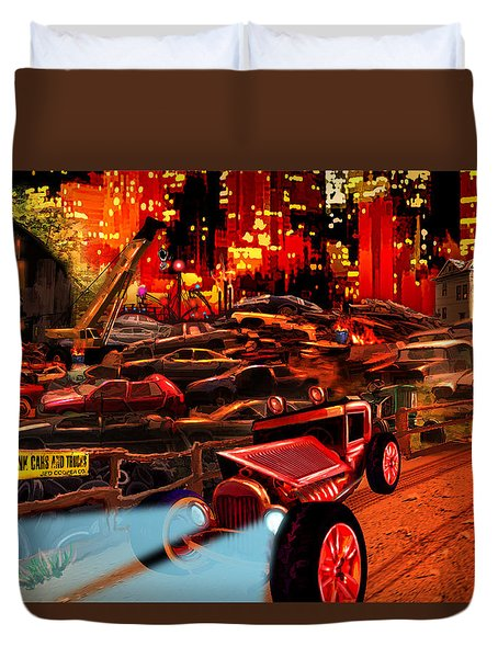 Jed Cooper Junk Yard Duvet Cover by Gerry Robins