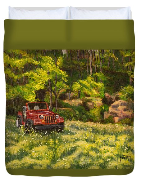 Jeep By The Bluff Duvet Cover by Janet Felts