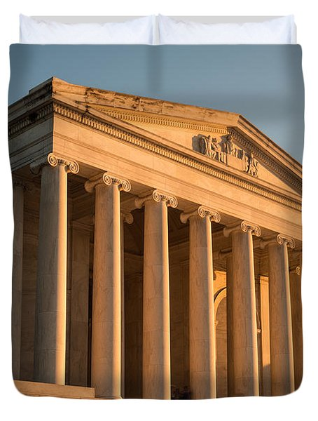 Jefferson Memorial Sunset Duvet Cover by Steve Gadomski