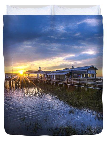 Jekyll Island Sunset Duvet Cover by Debra and Dave Vanderlaan