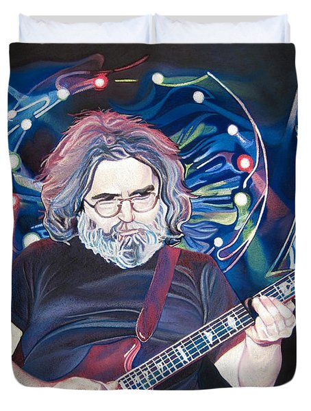 Jerry Garcia and Lights Duvet Cover by Joshua Morton