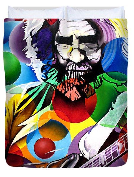 Jerry Garcia In Bubbles Duvet Cover by Joshua Morton