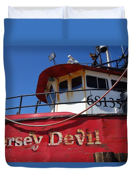 Jersey Devil Clam Boat Duvet Cover by Joan Reese