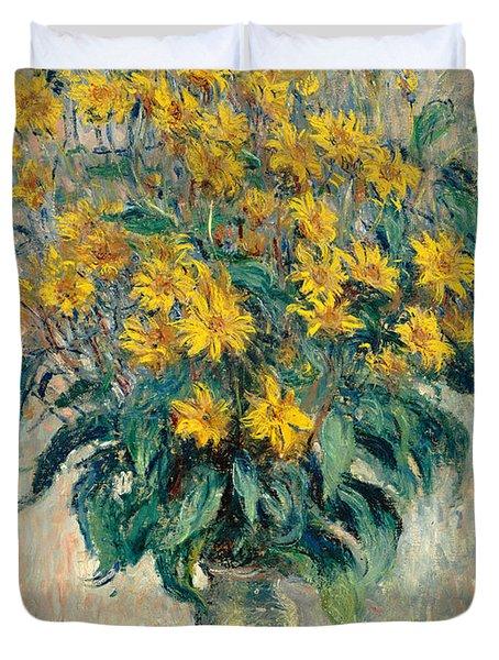 Jerusalem Artichoke Flowers Duvet Cover by Claude Monet