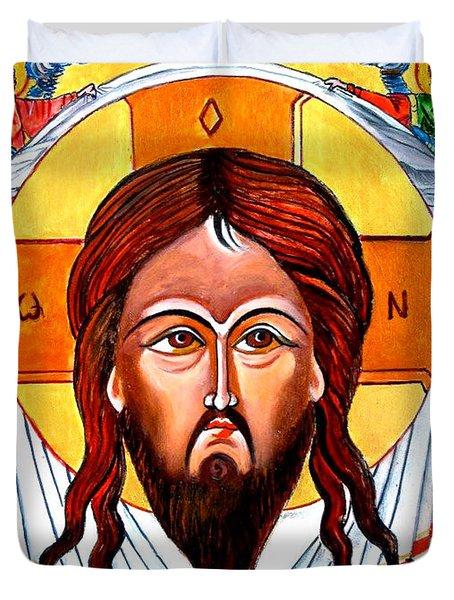 Jesus Christ Mandylion Icon Duvet Cover by Ryszard Sleczka