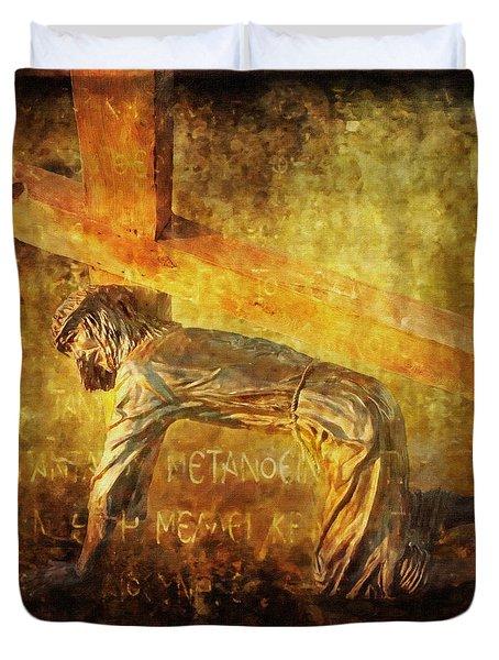 Jesus Falls Again Via Dolorosa 7 Duvet Cover by Lianne Schneider