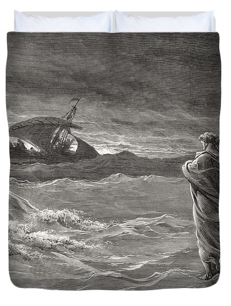 Jesus Walking On The Sea John 6 19 21 Duvet Cover by Gustave Dore