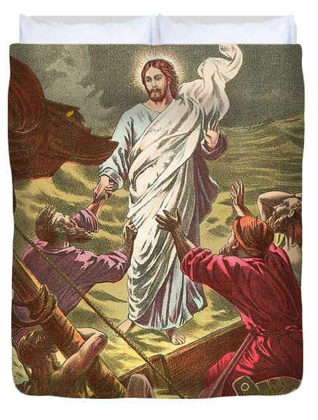 Jesus Walking On The Water Duvet Cover by Anonymous