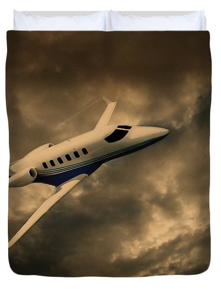 Jet Through The Clouds Duvet Cover by David Dehner