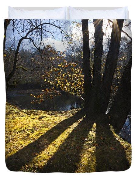Jewel in the Trees Duvet Cover by Debra and Dave Vanderlaan