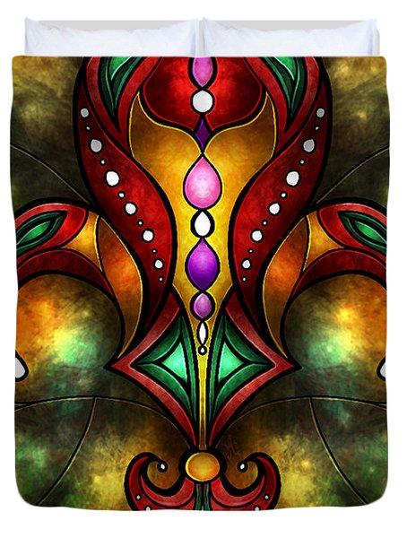 Jeweled Fleur De Lis Duvet Cover by Mandie Manzano