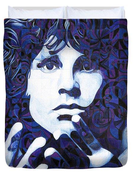 Jim Morrison Chuck Close Style Duvet Cover by Joshua Morton