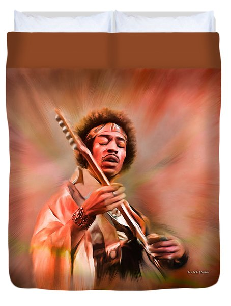 Jimi Hendrix Electrifying Guitar Play Duvet Cover by Angela A Stanton