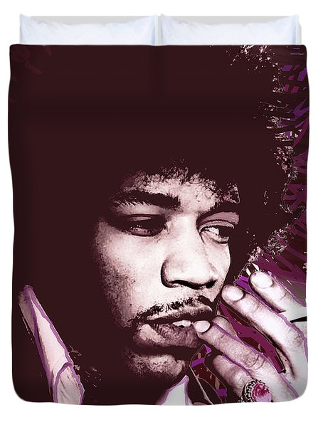 Jimi Hendrix Purple Haze Red Duvet Cover by Tony Rubino