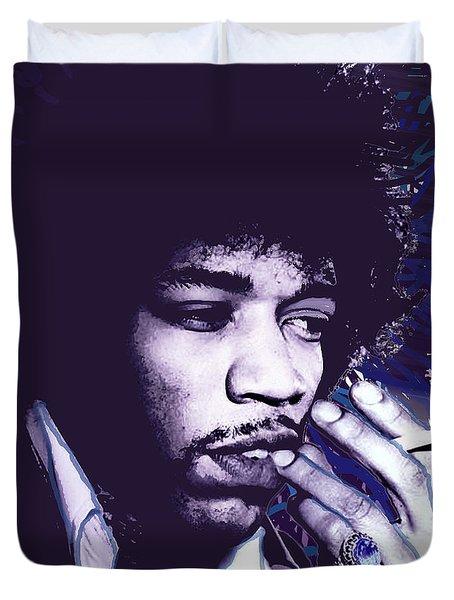 Jimi Hendrix Purple Haze  Duvet Cover by Tony Rubino