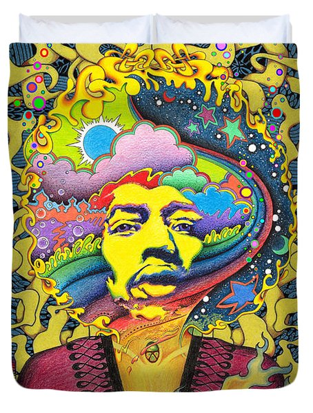 Jimi Hendrix Rainbow King Duvet Cover by Jeff Hopp