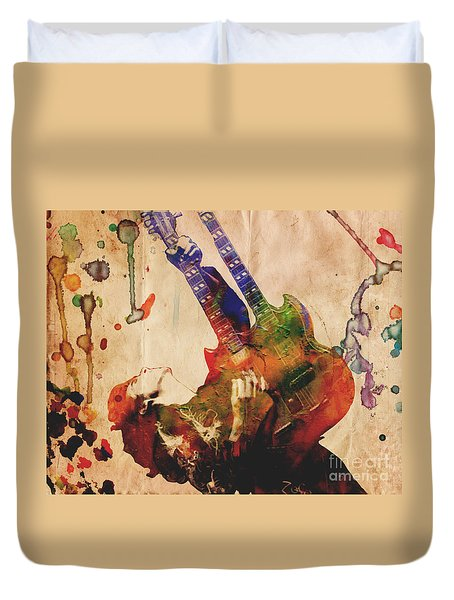 Jimmy Page - Led Zeppelin Duvet Cover by Ryan Rock Artist