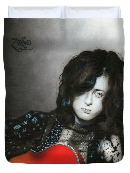' Jimmy Page ' Duvet Cover by Christian Chapman Art