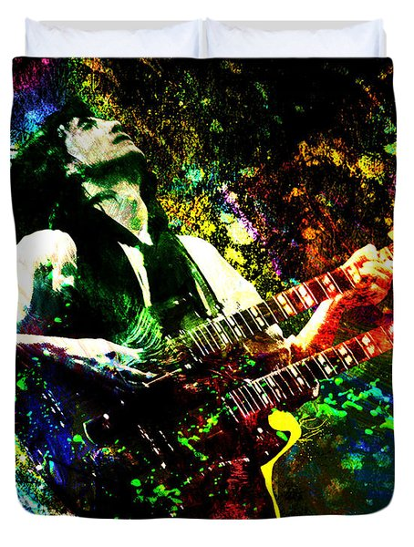Jimmy Page - Led Zeppelin - Original Painting Print Duvet Cover by Ryan RockChromatic