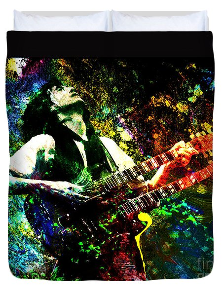 Jimmy Page - Led Zeppelin - Original Painting Print Duvet Cover by Ryan Rock Artist