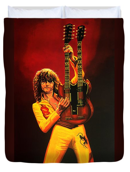 Jimmy Page Painting Duvet Cover by Paul Meijering